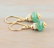 Emerald green Onyx earrings 14k gold fill ear wires