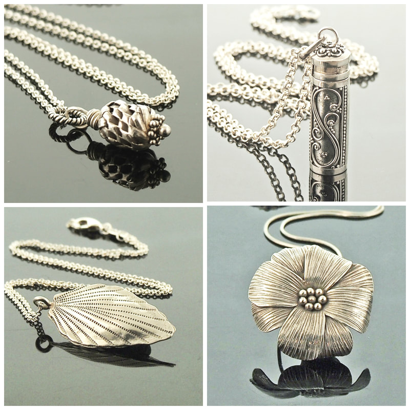 More beautiful Hill Tribe Silver necklaces by Gahooletree.  Shown (bottom left) Hand Crafted Hill Tribe Silver Leaf Necklace