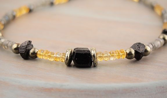 Black Tourmaline Choker with Gold Pyrite golden Citrine and blue flash Labradorite 19 inch mens unisex gemstone necklace Black Tourmaline hammered nuggets