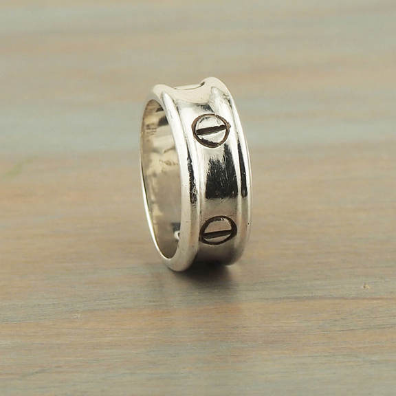 925 Silver Ring Mens Unisex Finger Ring Size 9-1/4 Sterling Silver Bohemian Artisan Wedding Band 25th Wedding Anniversary Gift