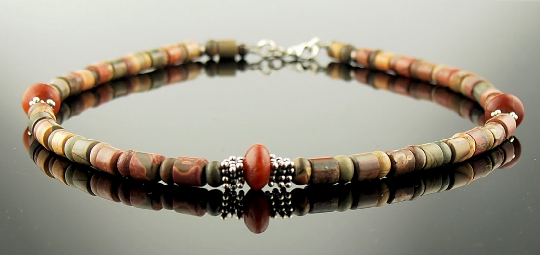 Brown Red Stone Choker Fathers Day Gift Picasso Jasper Mens Unisex Necklace Sterling Hill Tribe Silver Accents Natural Gemstone Jewelry For Him For Her