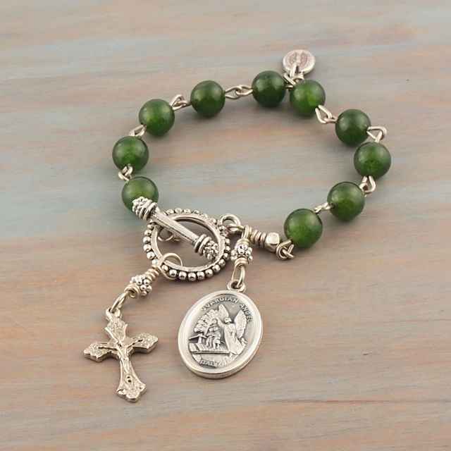 Jade Rosary Bracelet Green Natural Gemstone Guardian Angel Medal Cross Crucifix Prayer Beads Gift Youth Mens For Him Her