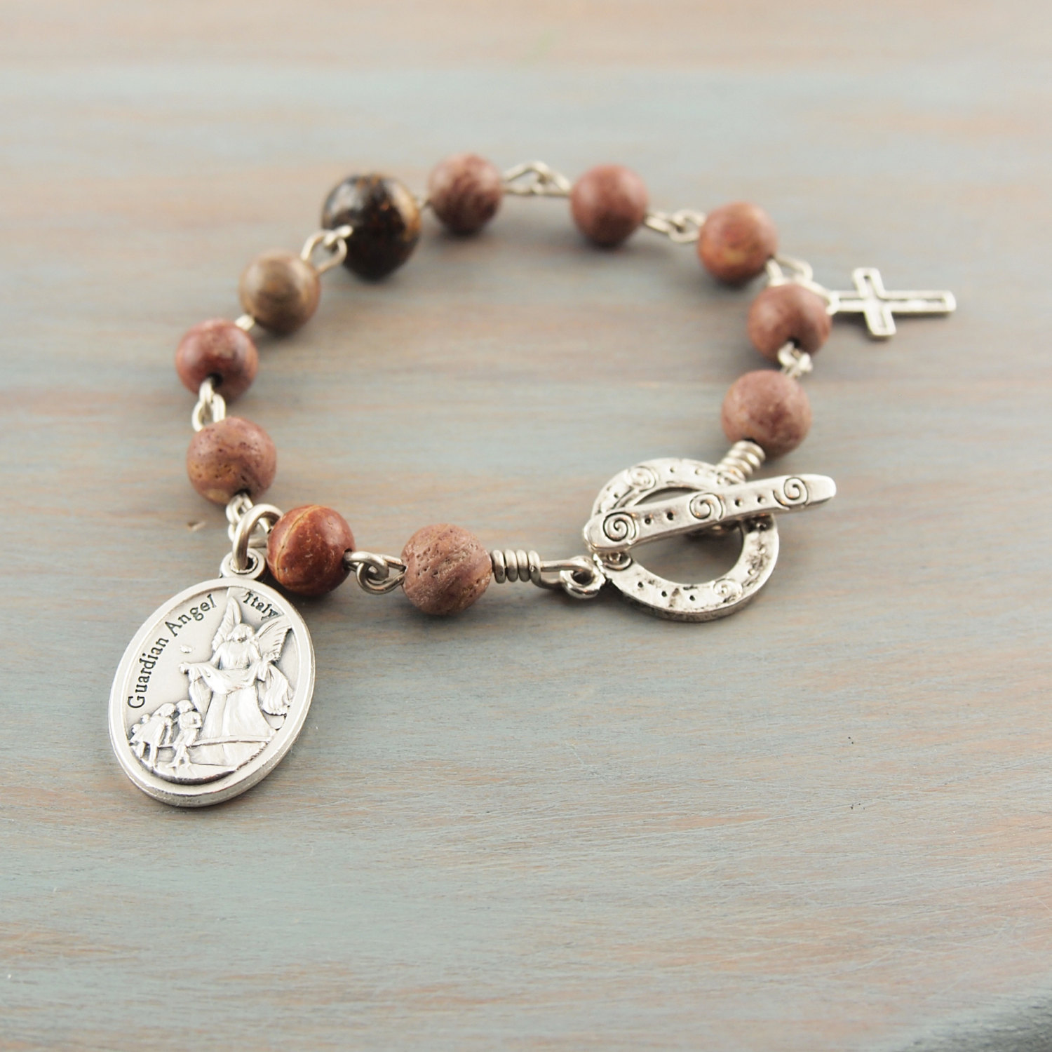 Stone Rosary Bracelet Prayer Beads Guardian Angel Holy Family Medal ...