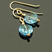 topaz earrings 14K gold filled ear wires AAA Swiss Blue Topaz gemstone