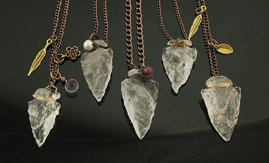 rock crystal quartz Arrowhead necklaces