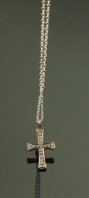 diamond pave cross necklace sterling silver