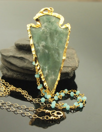 green Jasper Arrowhead necklace with bohemian chic turquoise rosary link chain