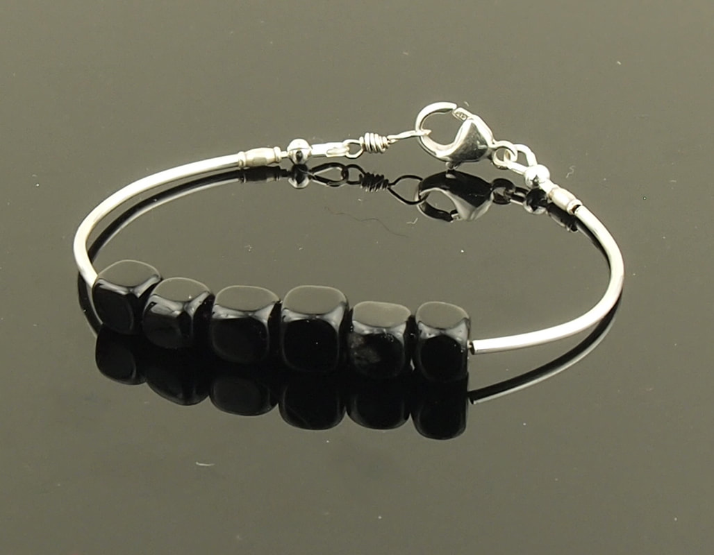 black stone bracelet sterling silver black jasper cubes unisex mens style with lobster clasp sleek and slim for layering