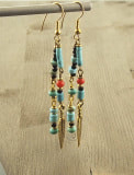 Turquoise earrings natural Red Coral black onyx and brass feather accents bohemian chic, country & western or desert southwest style