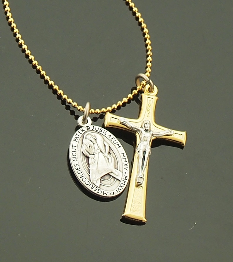 Two Tone Crucifix with Year of Mercy/Pope Francis Medal on 30 Inch 18K Gold Fill Ball Chain