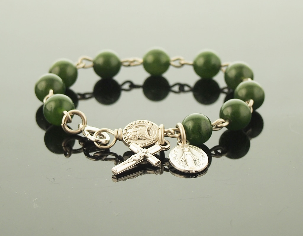 Green Jade Catholic Rosary Bracelet with Miraculous Medal Modern Crucifix Cross, Year of Mercy Pater and Lobster Clasp - Rugged Stone Prayer Beads For Him or Her