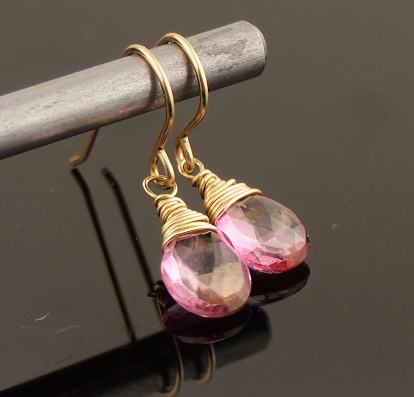 Pink Topaz Earrings faceted teardrops on hand forged 14k gold fill hook wires
