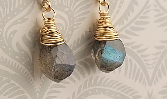 Labradorite stud earrings 14K goldfill