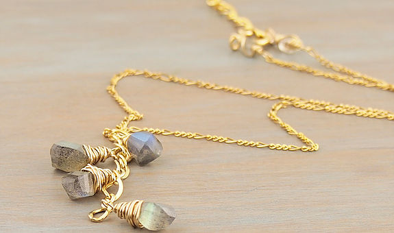 Labradorite Cascade Necklace 14K gold fill. 16 inches with 2 inch extender.