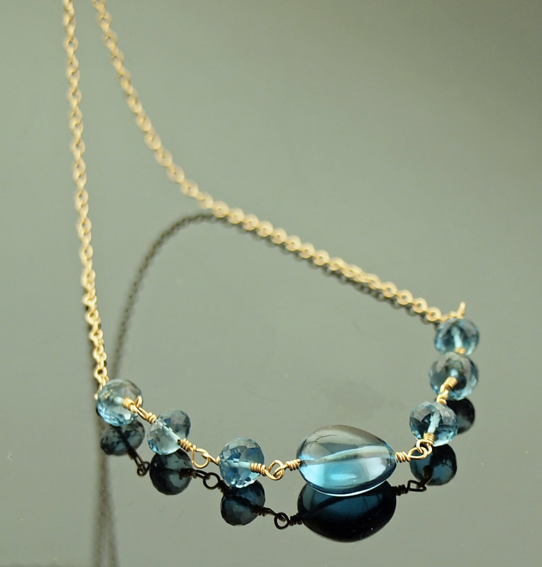 London Blue Topaz necklace 14k gold fill rosary chain