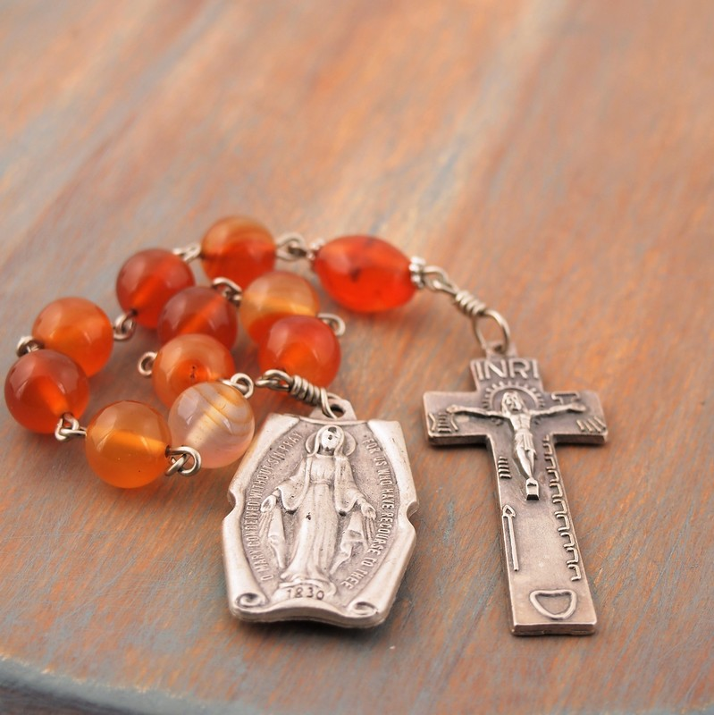 Tenner Pocket Rosary Carnelian Stone Prayer Beads with Irish Penal Cross and Miraculous/St.Christopher Medal by AbbeyForge