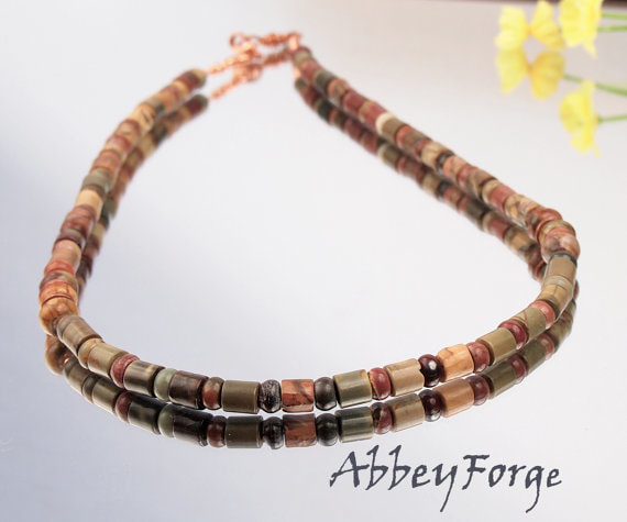 Picasso Jasper Choker with Solid Copper Accents - green copper cream and burgundy brown stones