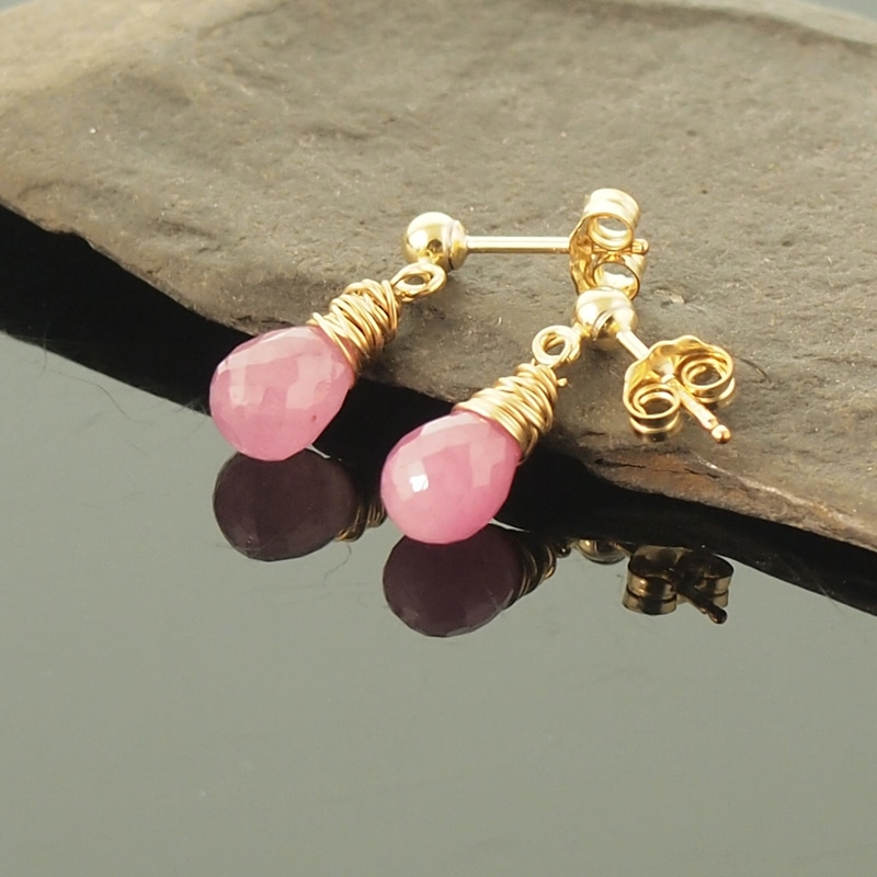 Pink Sapphire Stud Earrings 14K Gold Filled Ball Stud Wires with Butterfly Backs Pastel Pink Stone Teardrops September Birthstone