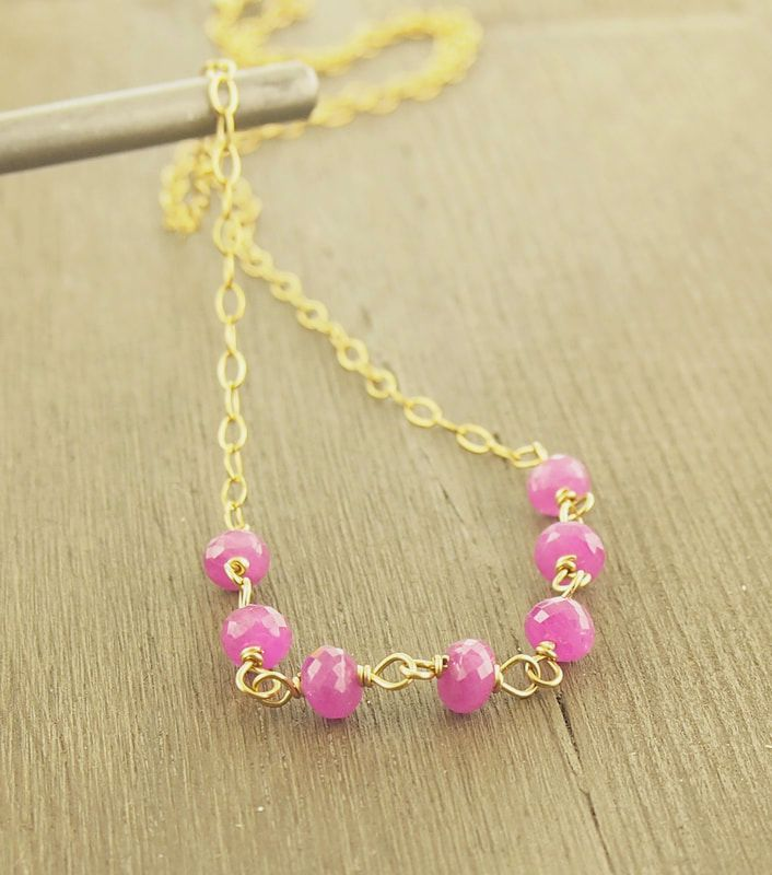 Natural Pink Sapphire gemstone choker seven 4-5mm faceted hot pink stones semi-transparent clarity precisely faceted gems