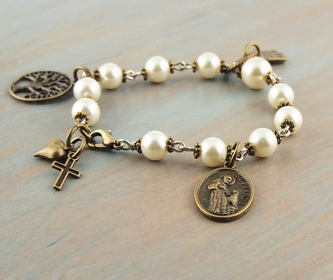 Ivory Pearl Rosary Bracelet Antique Bronze St.Francis Medal Tree of Life Charm Vintage Style Prayer Beads by AbbeyForge