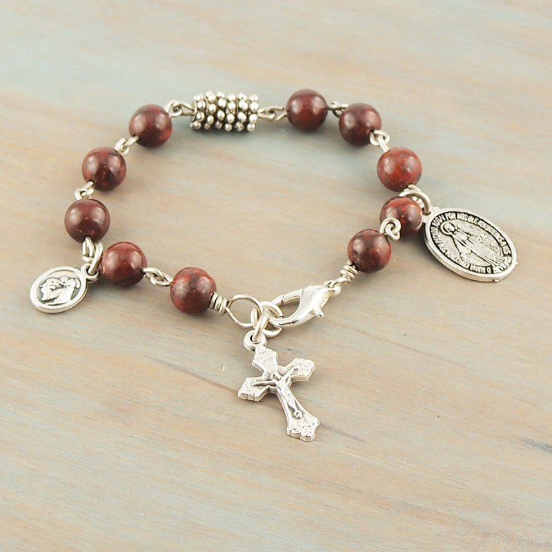 Mahogany Jasper Rosary Bracelet Miraculous Medal St.Francis St.Anthony Medal Teen Youth Girl Boy Graduation Gift For Him For Her