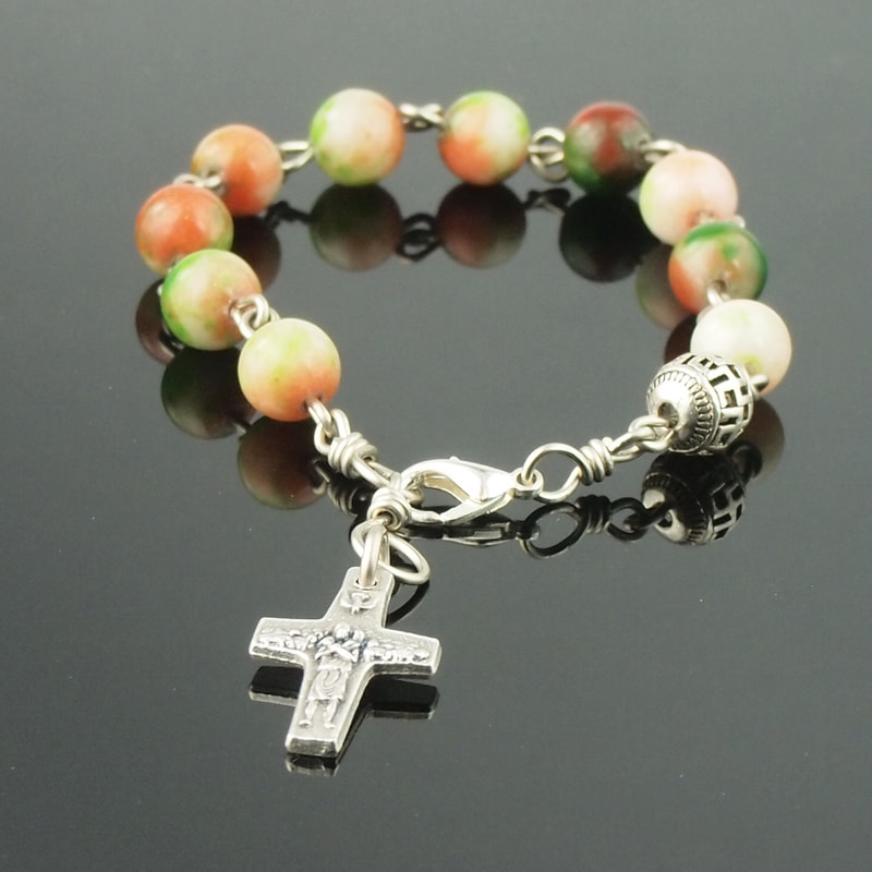 Rosary Bracelet Orange Green Cream