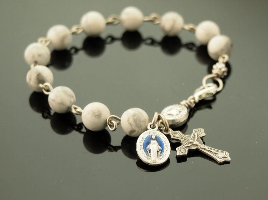 Rosary Bracelet White Howlite Natural Gemstone With Flared Cross Miraculous Medal Blue Enamel Inlay Mens Sizing Sy Chain Links