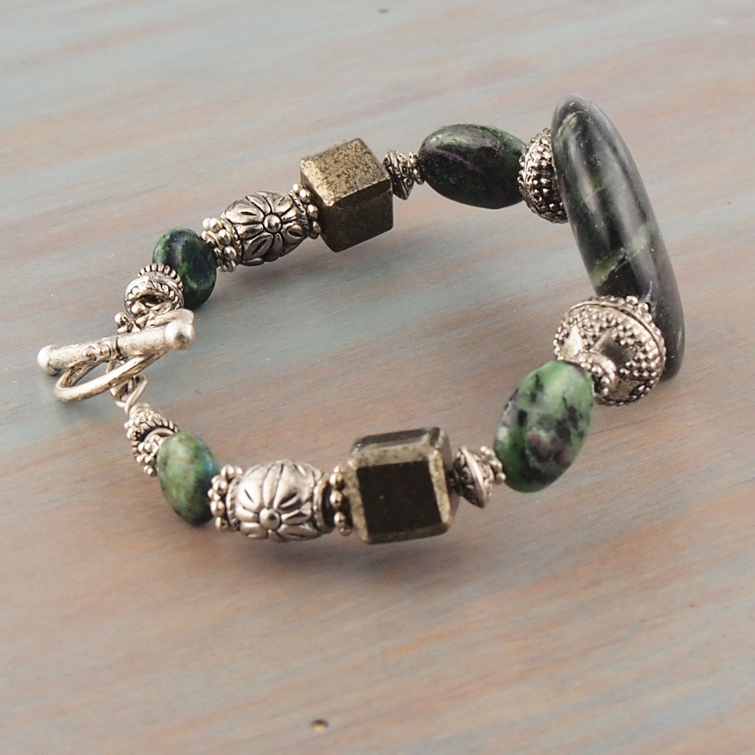 green charm hawaii lava with volcanic stone bracelet stretch pineapple