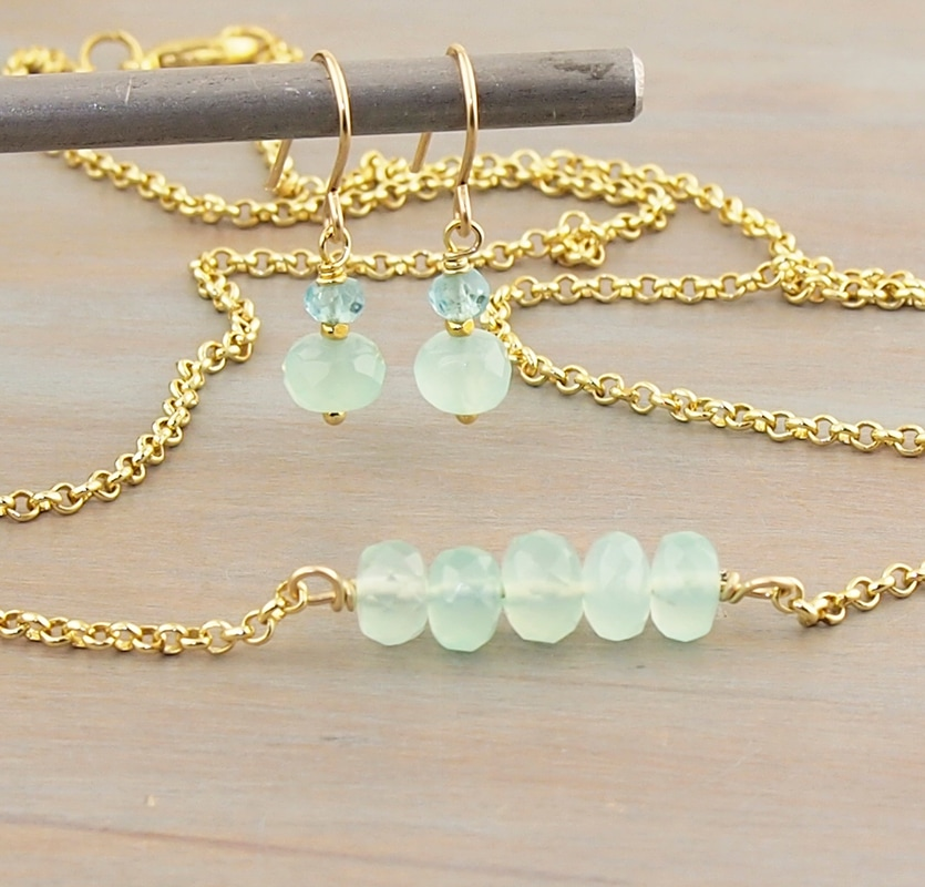 Teal Turquoise Aqua Blue ​Seafoam Chalcedony Necklace Earring Set with Blue Topaz Natural Gemstone 14K Gold Fill Hooks