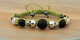 Skull Bracelet: Shambala with Silver Skulls Black Onyx Clear Crystal Pave Green Woven Macrame Cord has Hematite at ends