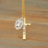 Two Tone Crucifix with Year of Mercy/Pope Francis Medal on 30 Inch 18K Gold Fill Chain